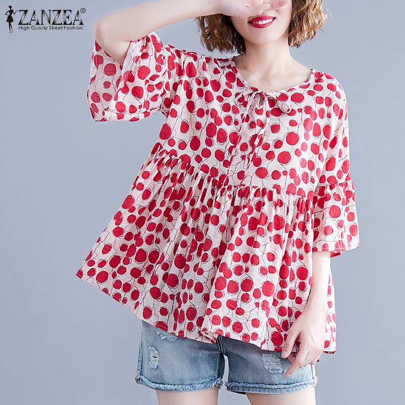 2019 ZANZEA Fashion Polka Dot Print Shirt Women's Summer Blouse Casual Short Sleeve Blusas Female O Neck Tunic Plus Size Chemise