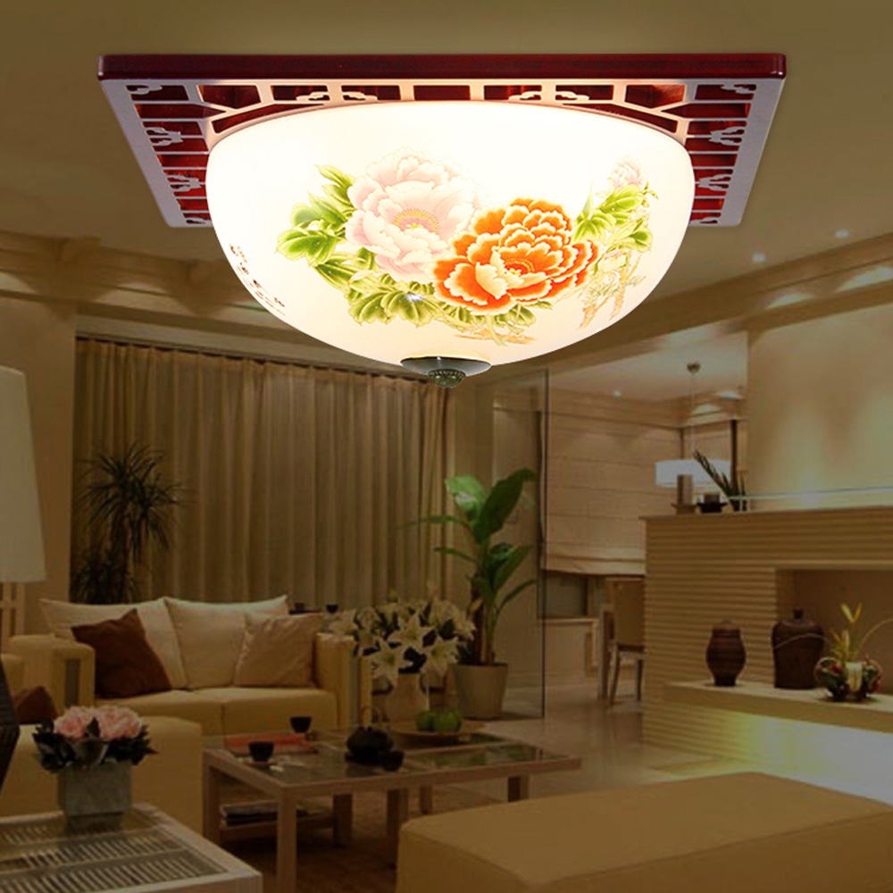 Modern Ceramic Lampshades Bamboo Carved Home Ceiling Lamps For Living Room Bedroom LightsChina