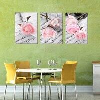المشارك صورة قماش وحدات 3 أجزاء رومانسية بينك روز جدار الفن إطار اللوحة الحديثة غرفة المعيشة الديكور الفني