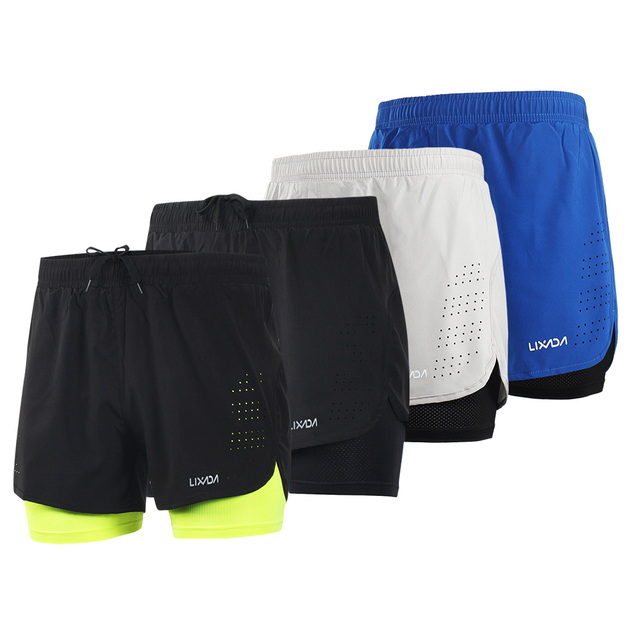 d5aa3931319 LIXADA Men 2-in-1 Running Shorts Quick Drying Breathable Gym Sports Shorts  Training Exercise Jogging Cycling Shorts Longer Liner