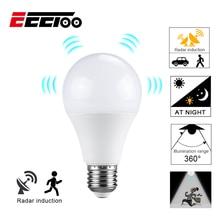 EeeToo аварийный светильник светодиодный лампочка с радиолокационным датчиком движения переменного тока 85-265 в Авто умный инфракрасный корпус звук умный E27 светодиодный лампочка для дома