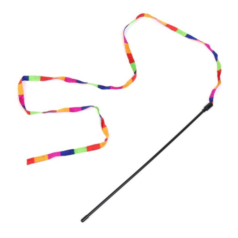 Heet Verkoop Regenboog Streamer Huisdier Kat Veer Speelgoed Speel Kat Wand Catcher Teaser Sticks Kat Interactieve Training Speelgoed Groothandel