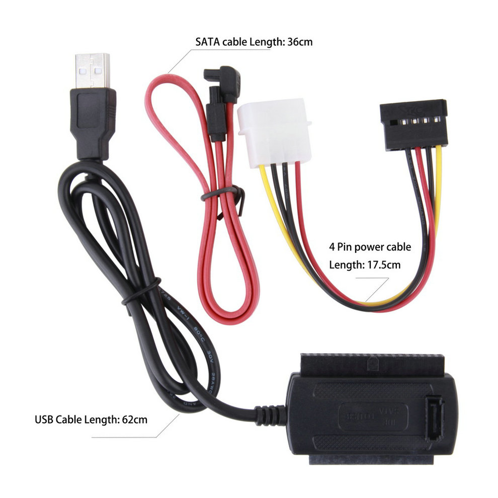 SATA/PATA/IDE Drive To USB 2.0 Adapter Converter Cable For 2.5 / 3.5 Inch Hard Drive  2425#