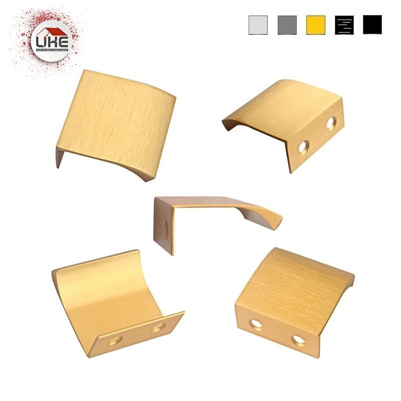 FREE SHIPPING 5 Colors Matte Black Brushed Gold Brushed Anthracite Brushed Inox Color Aluminum Modern Door Edge Drawer Handle