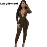 LadySymbol Green Deep V Neck Sexy Bodycon Women Jumpsuit Romper 2017 Winter Long Sleeve Elegant Casual