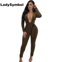 LadySymbol Green Deep V Neck Sexy Bodycon Women Jumpsuit Romper 2017 Winter Long Sleeve Elegant Casual