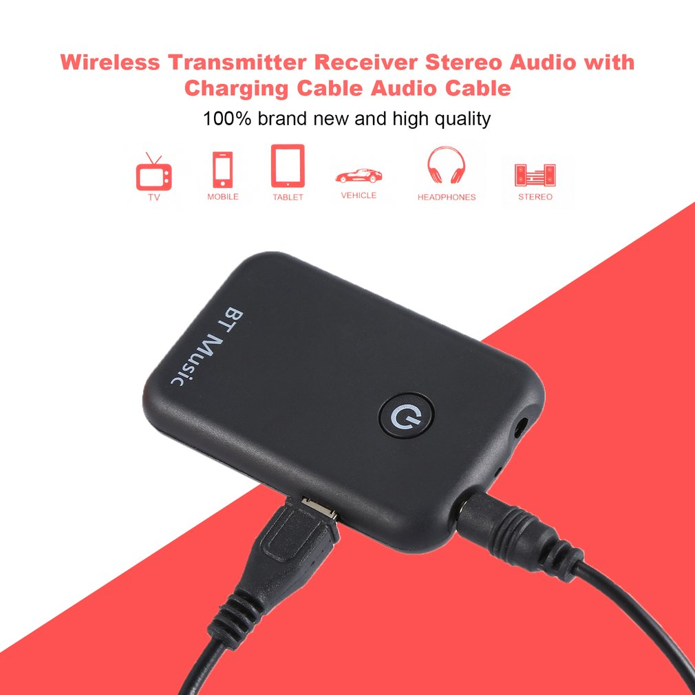 Wireless Transmitter Receiver Adapter Stereo Audio Music Adapter With USB Charging Cable Audio Cable