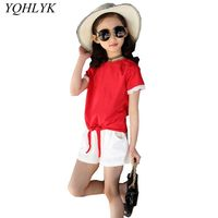 New Fashion Summer Girls Suit 2018 Korean Children's Lace Short sleeve Tops + Shorts Casual Comfortable Kids Clothes 2PCS W70
