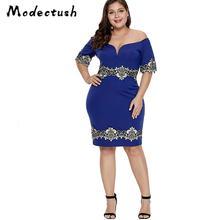 Modecrush Women Off Shoulder Slash Neck Patchwork Dress 2019 Summer Blue Lace Backless Pencil Big Size Party Gown XL-5X