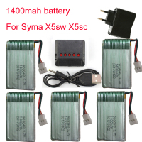 1400mAh 3 7V LiPo Battery Euro Plug AC Charger For SYMA X5SC X5SW Battery RC Drone