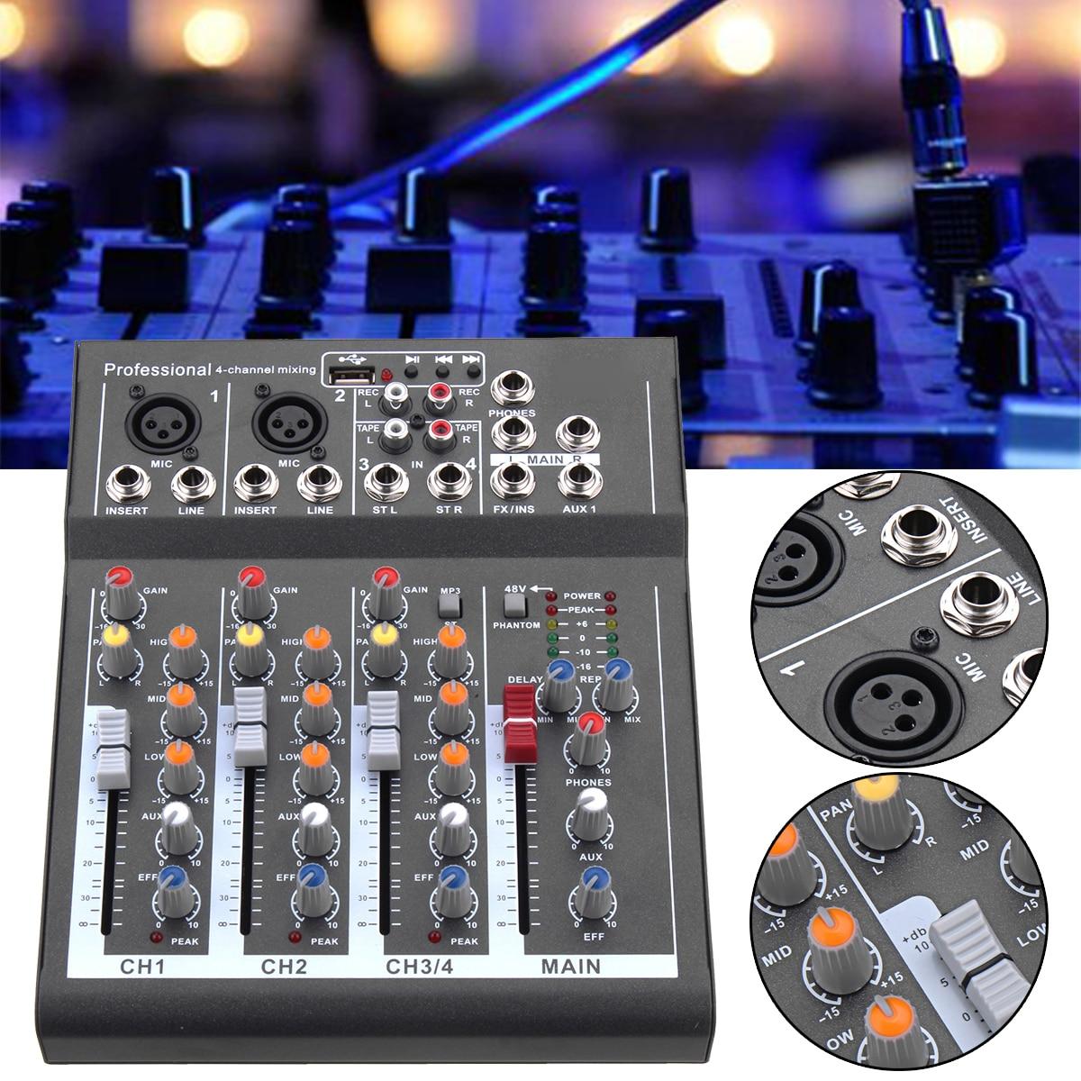 110 V-220 V 4-канальный профессиональный караоке аудио микшер-усилитель мини-микрофон звук микшерный пульт с USB Phantom Мощность