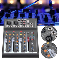 110V 220V 4 Channel Professional Karaoke Audio Mixer Amplifier Mini Microphone Sound Mixing Console With USB Phantom Power