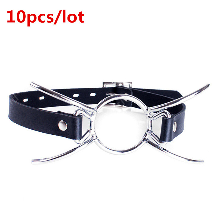 Wholesale 10 Pcs Lot Oral Fixation PU Leather Mouth Gag Spider X Style Flirting Metal O