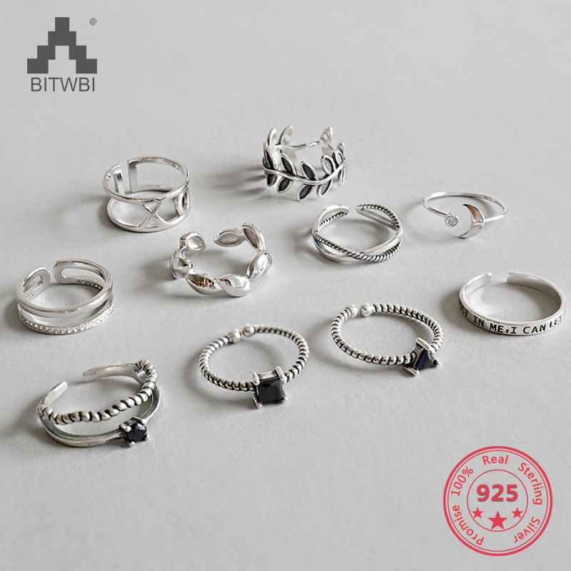 2019 Hot Sale 925 Sterling Silver Personality Mix Fashion Concise Retro Men And Women Vintage Adjustable Silver Ring