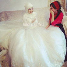 Saudi Arabic Wedding Gowns With Hijab Long Sleeve Tulle Ivory Lace Wedding Dress Boda Dubai Wedding Gowns Vestidos De Noiva 2016