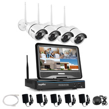 SANNCE 2,4G 10,1 LCD 4CH HD Drahtlose 720 P Wifi NVR 1500TVL In/Outdoor IR CUT ip kameras Home Security Camera System