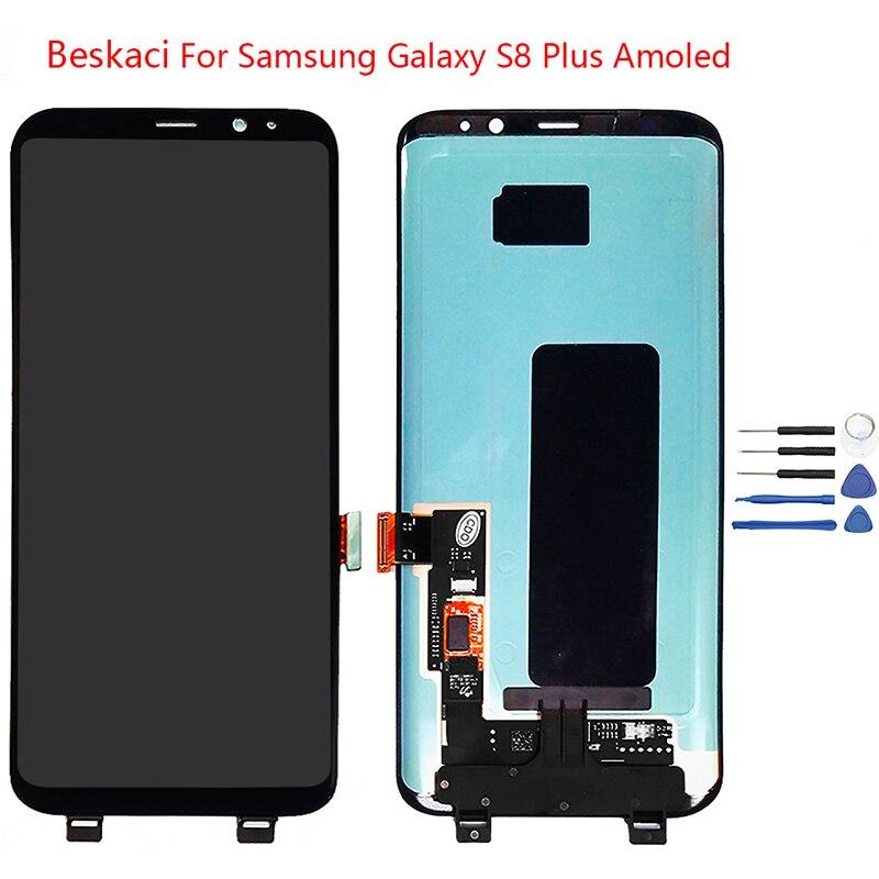 Beskaci Super Amoled Per Samsung Galaxy S8 Più G955 G955F Screen Display LCD di Ricambio Touch Panel Con Telaio di Montaggio