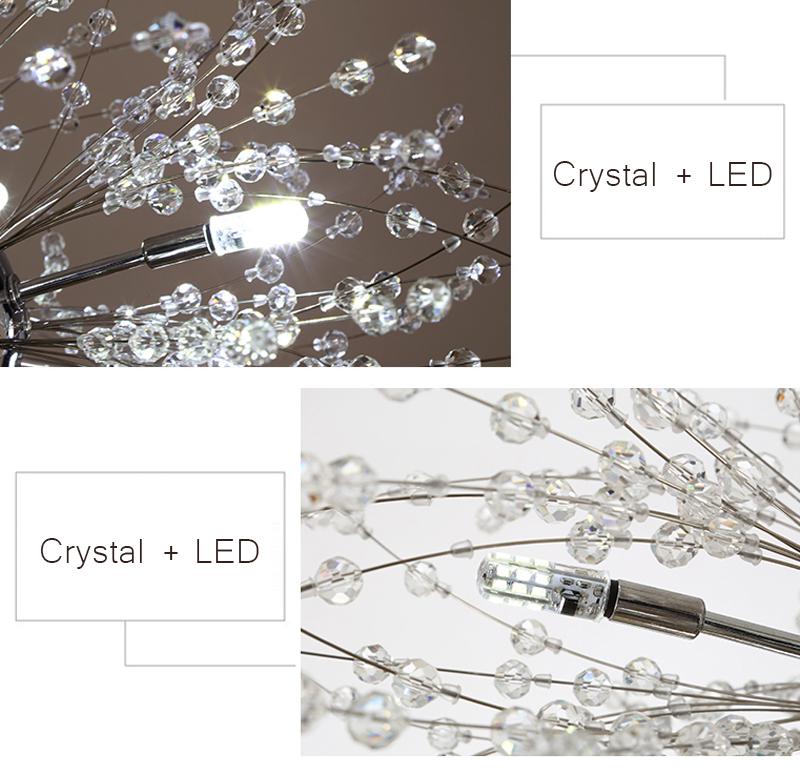Nordic 110V-240V Crystal Dandelion Pendant Lamp Personalized Luxury Romantic Pendant Lights Creative Chandelier For Living Room Restaurant (11)