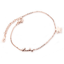 Stainless Steel Anklets Romantic Star Lucky Women Rose Gold Plated Delicate Fashion Jewelry Bracelets Cute Lovely Dangle Slip