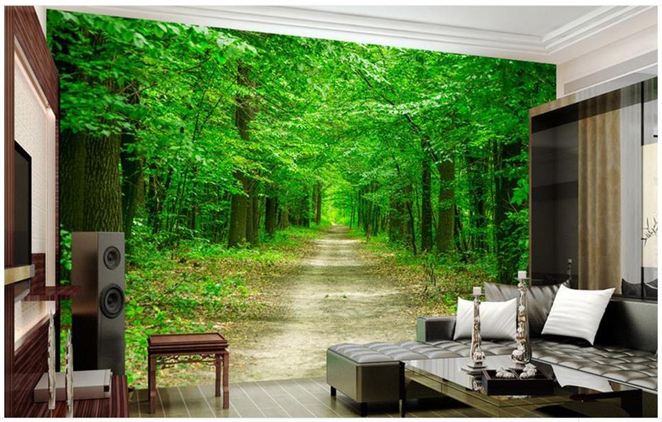Custom mural wallpaper room 3d photo wallpaper green tree forest road landscape 3d photo sofa TV background non-woven wallpaper custom green 3d large natural landscape living room tv background wallpaper mural fresh grass mountain animal sheep for walls