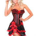 Sexy Corsets Red Black Sexy Gothic Corsets Dress Women Corsets Intimates Top+Skirt