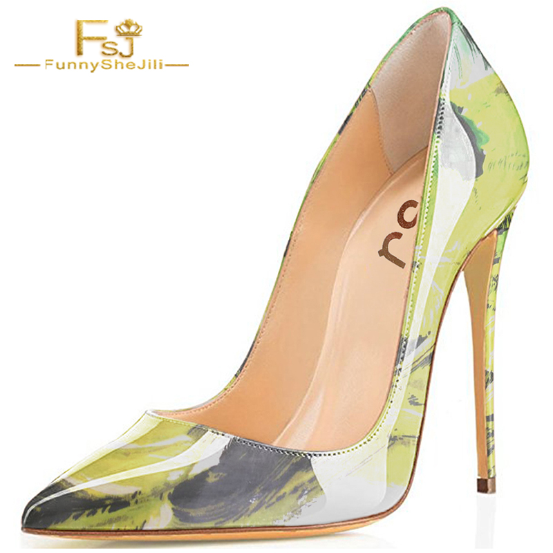 FSJ Pumps Thin High Heel 12cm Shoes Woman Shallow Patent Leather Wedding Party Pointed Toe Printing Green Natural Fashion Size 9 craylorvans top quality 8 10 12cm women pumps new fashion leopard color pointed toe high heel wedding shoes ultra thin high heel