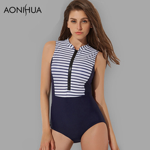 AONIHUA One Piece Surfing Swimsuits Women 2018 Sport Striped Sleeveless Push up Swimwear Female Front zipper Bathing Suit XL