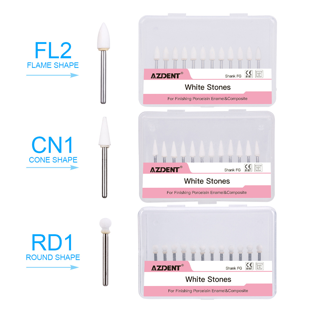36Pcs Dental Flame & Cone & Round White Stone Polishing FG Burs FL2 CN1 RD1 Bur Fit High Speed Handpiece 1.6mm Dentist Tools
