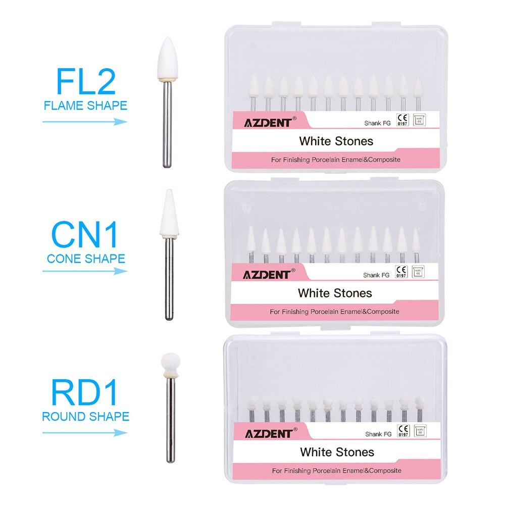 36Pcs Dental Flame & Cone & Round White Stone Polishing FG Burs FL2 CN1 RD1 Bur Fit High Speed Handpiece 1.6mm Dentist Tools