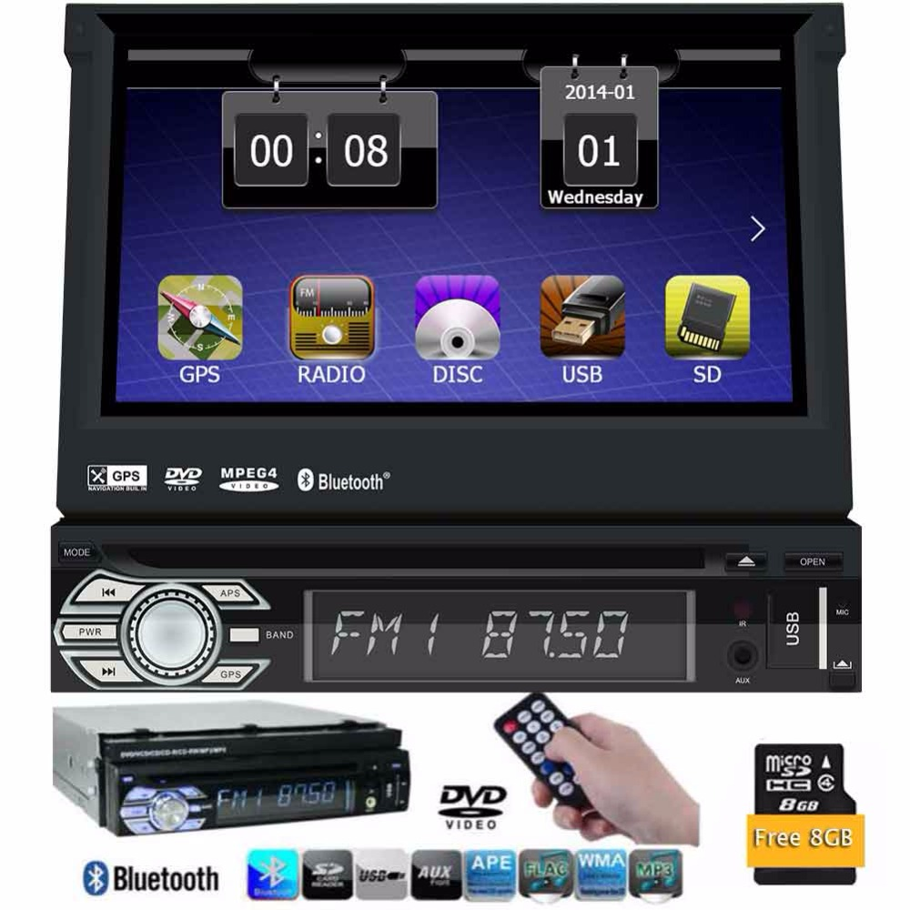 7 inch 1 Din Car DVD Player GPS Navigation multimedia Universal car bluetooth touch screen Auto Radio Audio Stereo without TV