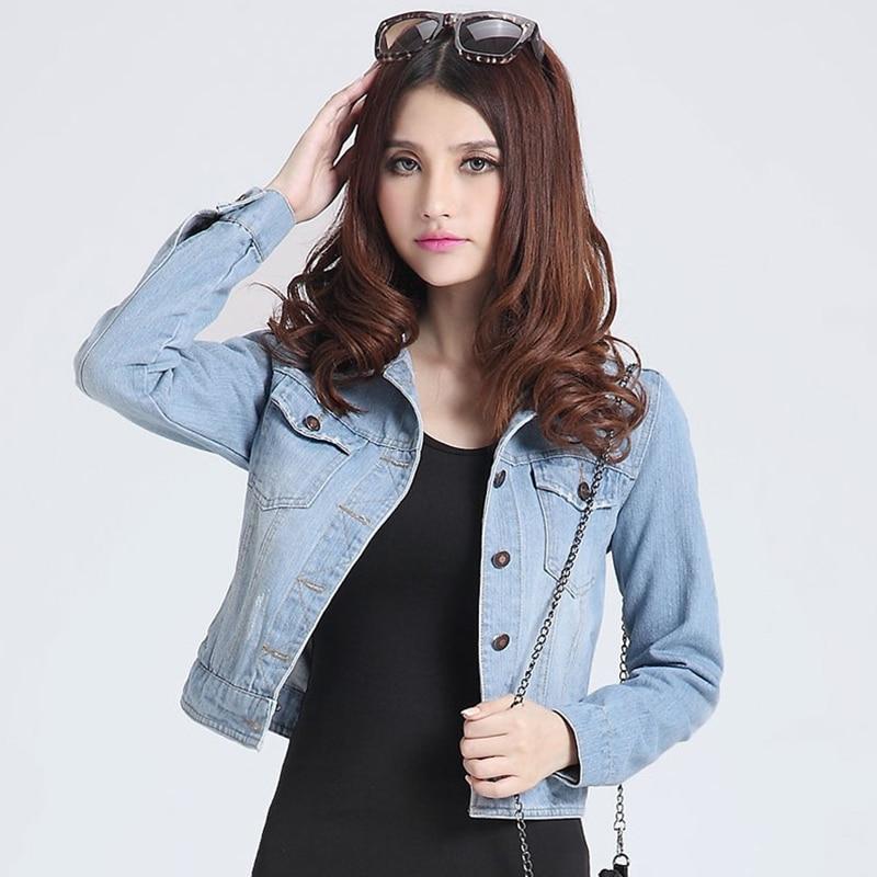 Womens jackets coats 2017 New fashion <font><b>jeans</b></font> Jackets Denim Women slim cotton solid Jacket for women Outerwear Coats ladies jacket