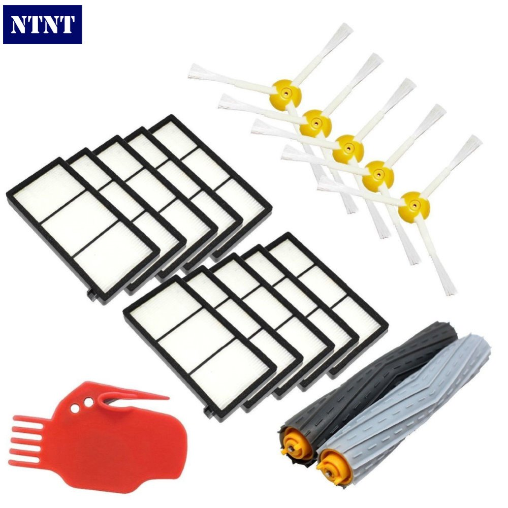 ФОТО NTNT Free Post new 3 Pack HEPA Filter & 3 armed side brush For iRobot Roomba 800 series 870 880