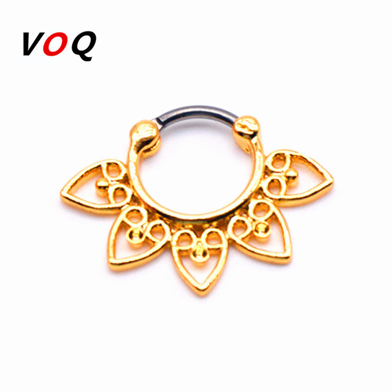 Wholesale Plated Gold Faux Septum Ring with G23 titanium Pole High Quality Fine Jewelry Real Piercing for Septum Rings PN5-10