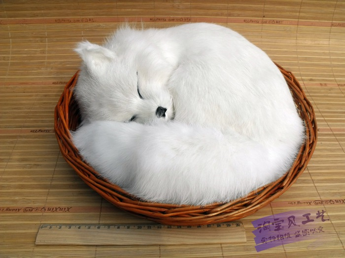 big simulation white fox toy lifelike lovely sleeping fox in a basket doll gift 27x12cm simulation animal large 28x26cm brown fox model lifelike squatting fox decoration gift t479
