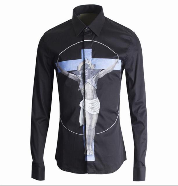 Original Brand Design Men's Creative Print Shirt European Men's Casual Dress Shirt Long Sleeve Black Shirts Male