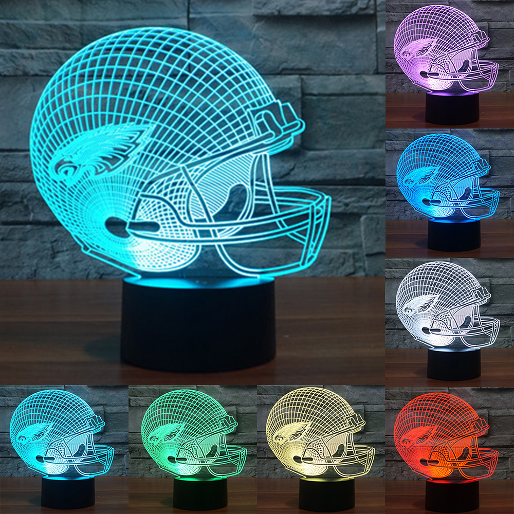 Novelty philadelphia team logo Football Helmet Illusion USB LED Night Light 7 Color Changing 3D Lamps for Kids Gift IY803669