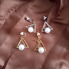 Grace Jun Fashion Cute Double Triangle Simulated Pearl Clip on Earrings Without Piercing for Women Luxury Jewelry Korea Style
