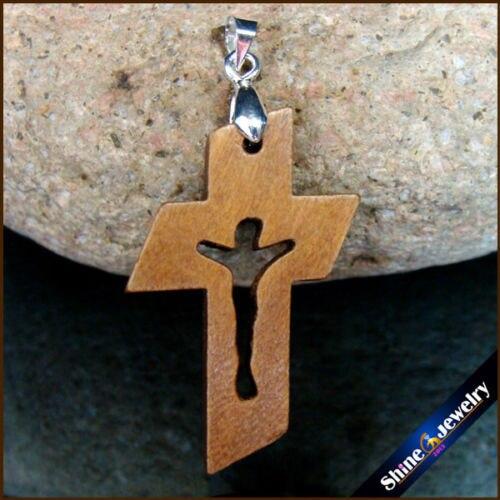 100 PCS Neue Natürliche holz kreuze Geschnitzt Jesus Kruzifix Kreuz & Clip Bail Charm Anhänger Statue Skulptur Schmuck für Halskette