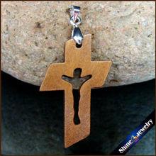 100 pièces nouvelles croix en bois naturel sculpté jésus Crucifix croix & pince Bail breloque pendentifs Statue Sculpture bijoux pour collier