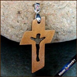 Image 1 - 100 pièces nouvelles croix en bois naturel sculpté jésus Crucifix croix & pince Bail breloque pendentifs Statue Sculpture bijoux pour collier