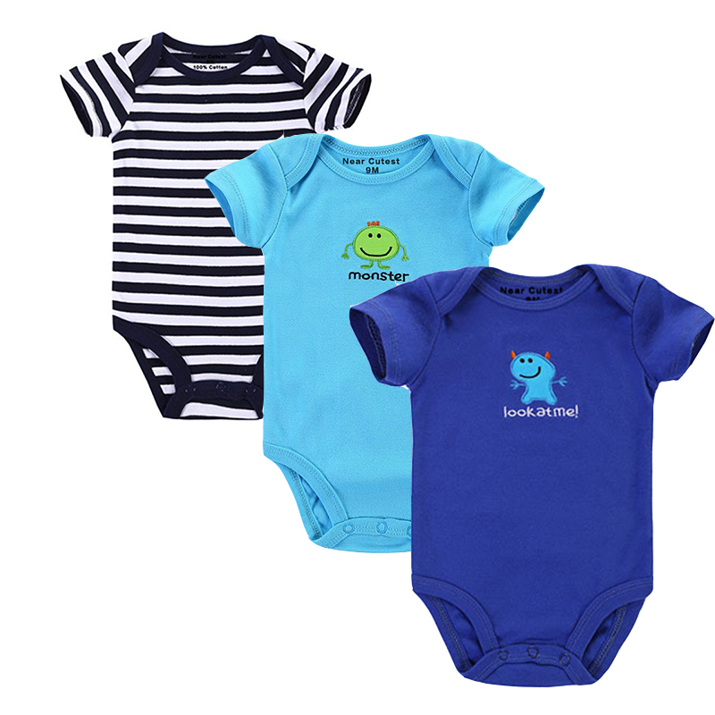 Near Cutest 3 unids / lote Baby Romper Summer Newborn Baby Boy Girl - Ropa de bebé
