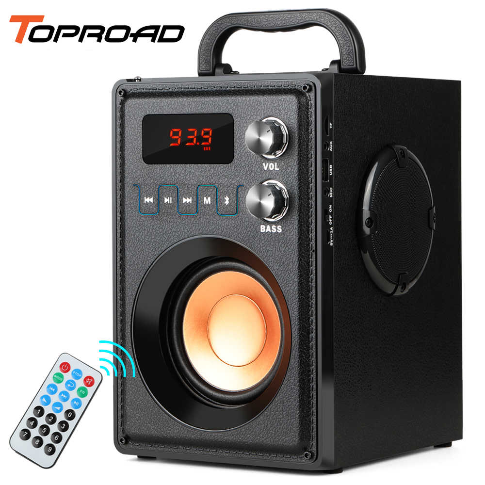 Toproad 20W Big Power Bluetooth Speaker Portable Wireless Stereo Bass Subwoofer Speaker Mendukung Remote Control FM Radio TF AUX
