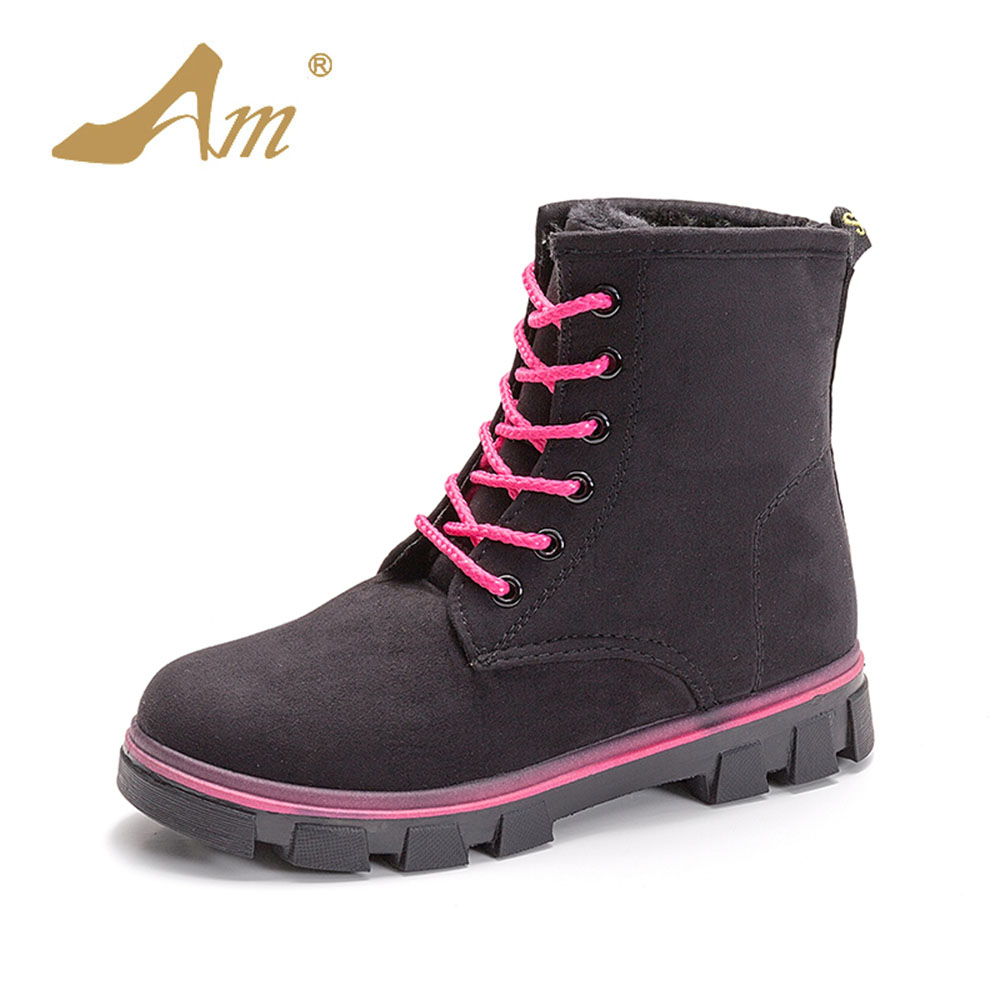 AME Autumn Winter Women Faux Suede Ankle Boots Fashion Woman Snow Boots with Fur Girls Ladies Work Shoes with Plush