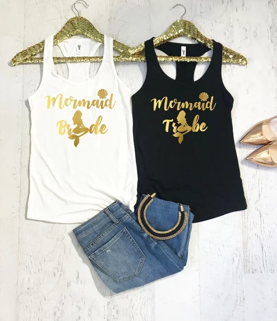 85836d3f3ff personalize mermaid bride tribe wedding Bachelorette Bridesmaids Tank tops  tees bridal shower t Shirts singlets Party gifts-in Party Favors from Home  ...