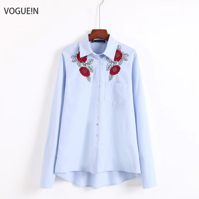 a91b6ba3 VOGUEIN New Womens Fashion Sequins Floral Embroidered White/Blue Button  Down Shirt Blouse Tops Size SML Wholesale