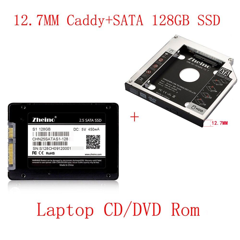 Zheino SATAIII 128GB SSD with Aluminum 12.7mm Caddy Laptop Sata SSD HDD Frame Caddy Adapter Bay CD/DVD-ROM Optical For laptop zheino sataiii 256gb ssd with aluminum 12 7mm caddy laptop sata ssd hdd frame caddy adapter bay cd dvd rom optical for laptop