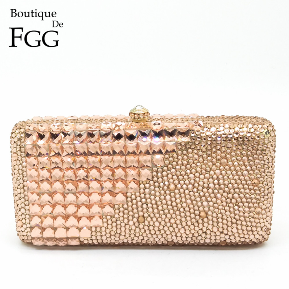 ФОТО Gift Box Women Gold Plated Champagne Crystal Glasses Patchwork Hardware Metal Clutches Bag Evening Wedding Party Clutch Handbag
