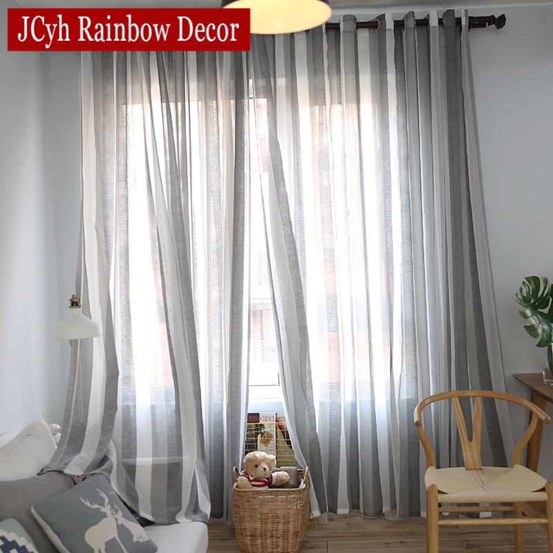 japanese style stripe sheer tulle curtains for living room bedroom voile curtains for window gray linen curtains fabric drapes - Window Sheers