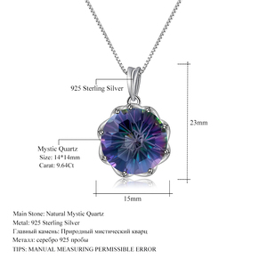 Image 5 - GEMS BALLET Classic 9.64Ct Natural Rainbow Mystic Quartz Gemstone Pendant Necklace For Women 925 Sterling Silver Fine Jewelry