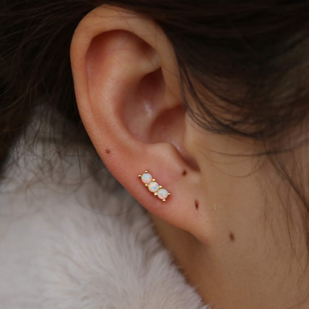 2019 spring design geometric minimal delicate girl studs 925 sterling silver dainty cz opal stone lovely small tiny earring